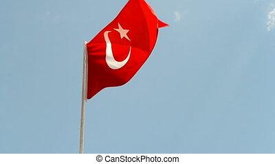 turkey, turkish flag on blue sky