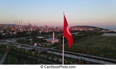 Turkey Turkish Symbol Flag Drone Shot at Sunset in Istanbul View of Turkey
