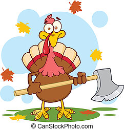 Turkey With Ax Character