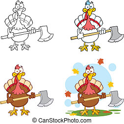 Turkey With Ax. Collection Set - Turkey With Ax Cartoon...