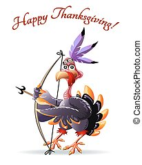 Turkey with bow thankgiving greeting card - Illustration of...
