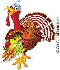 Turkey with cornucopia - Funny turkey with horn of plenty
