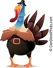 TURKEY WITH PILGRIM CLOTHES CHARACTER DESIGN
