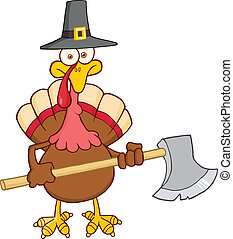 Turkey With Pilgrim Hat And Axe