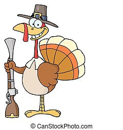 Turkey With Pilgrim Hat and Musket - Hunting Thanksgiving...