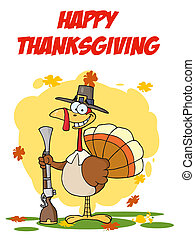 Turkey With Pilgrim Hat and Musket - Royalty-Free (RF)...