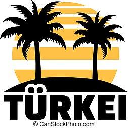 Turkey with sun beach and palms