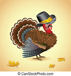 Turkey with Thanksgiving Hat
