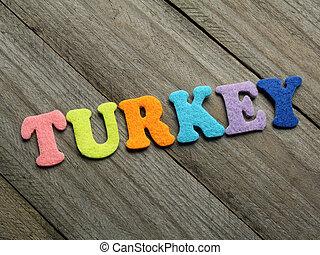 Turkey word on wooden background