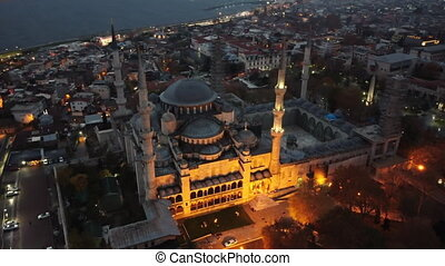 Turkey's largest city at dawn. Aerial view of The Blue Mosque (Sultanahmet) in Istanbul in night, Turkie.