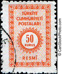 TURKIE - CIRCA 1965: An Official Stamp printed in Turkey shows 50 kurus in the center, circa 1965