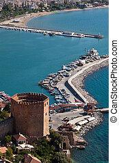 turkiet, alanya, -, röd torn, och, hamn