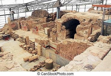 turkiet, bostads, insida, arkeologisk, hem, ephesus, fördärvar