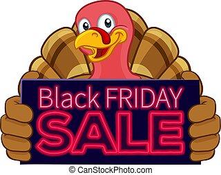 turkiet, fredag, svart, försäljning, tecknad film