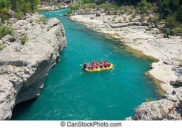 turkiet, rafting, kanjon, grön, alanya