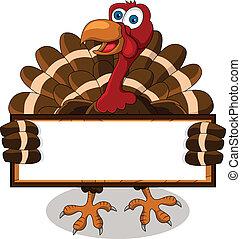 turkiet, tecknad film, med, tom, bord