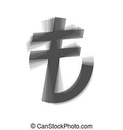 turkiey, lira, podpis., vector., šedivý, ikona, shaked, v, neposkvrněný, grafické pozadí.