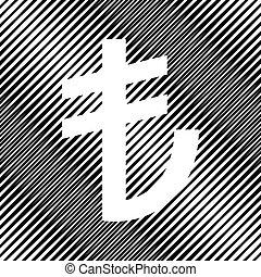 turkiey, lira, podpis., vector., icon., dírka, do, moire, grafické pozadí.