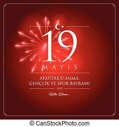 turkije, (19, bayrami, illustration., ve, 19, ataturk, mei,...