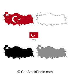 turkije, black , silhouette, en, met, vlag, op achtergrond