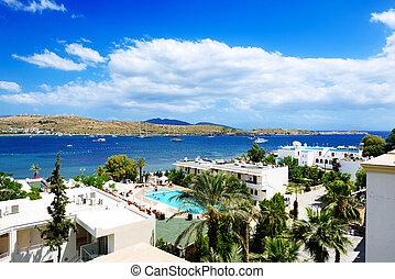 turkije, bodrum, egeïsch, turkse , vakantiepark, strand
