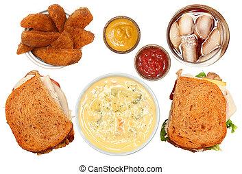 turkije, club, broccoli, soep, aardappel wiggen, en, bevroren thee, maaltijd
