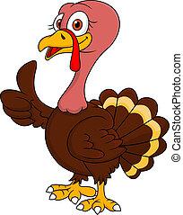 turkije, duim boven, spotprent