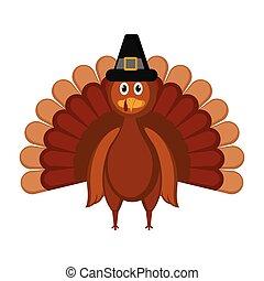 turkije, gekleurde, pelgrim, vrijstaand, hoedje, pictogram