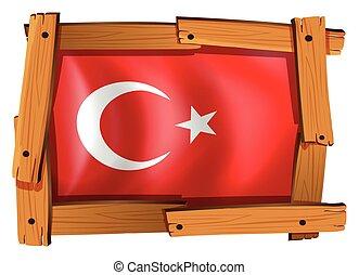 turkije, houten, vlag, frame
