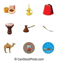 turkije, iconen, set, spotprent, stijl