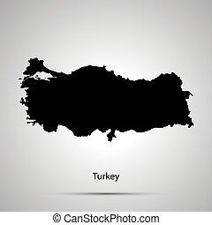turkije, kaart, eenvoudig, black , silhouette, op, grijs