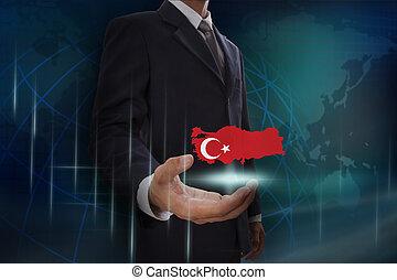 turkije, kaart, het tonen, achtergrond, zakenman, globe