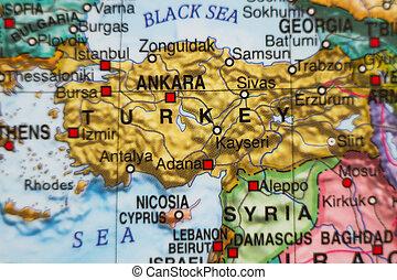 turkije, kaart, .