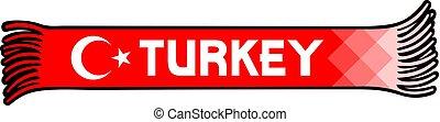turkije, kleuren, -, ventilatoren, illustratie, vlag, vector, ontwerp, sportende, sjaal