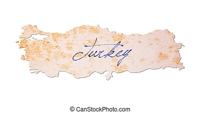 turkije, -, oud, papier, met, handschrift