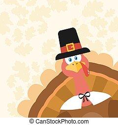 turkije, pelgrim, karakter, spotprent, het gluren, hoek, vogel, mascotte