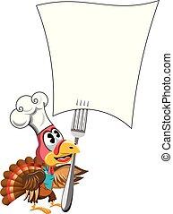 turkije, recept, dankzegging, vrijstaand, het kijken, papier, leeg, cook, forked, hoedje, spotprent