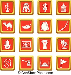 turkije, set, iconen, reizen, vector, plein, rood