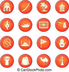 turkije, set, iconen, reizen, vector, rood
