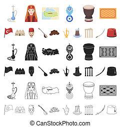 turkije, spotprent, iconen, in, set, verzameling, voor,...