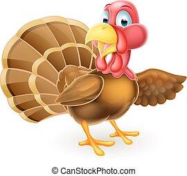 turkije, spotprent, wijzende, vogel
