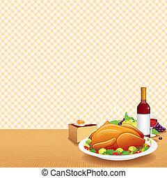 turkije, tafel, verfraaide, geroosterd