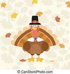 turkije, vervelend, pelgrim, dankzegging, hoedje, vogel