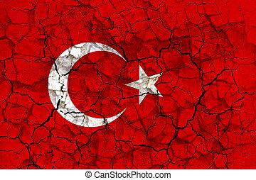 turkije, vlag, geverfde, op, een, gebarsten, grungy, muur