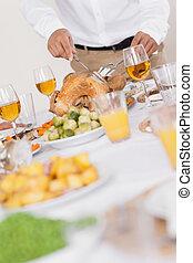 turkije, wezen, gekerfde, op, diner tafel