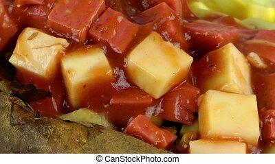 Turkish Baked Potatoes Food Mixed with Vegetables Kumpir