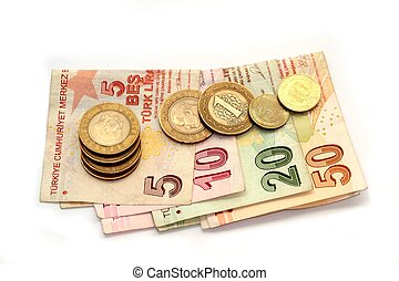 Turkish banknotes and coins,on white background
