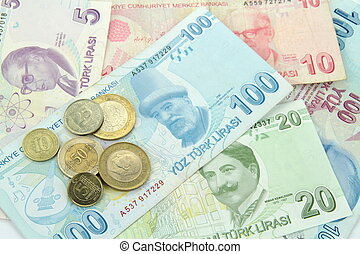 Turkish banknotes and coins , close up image