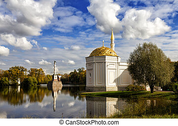 Turkish bath and Chesme Column in Catherine Park at...