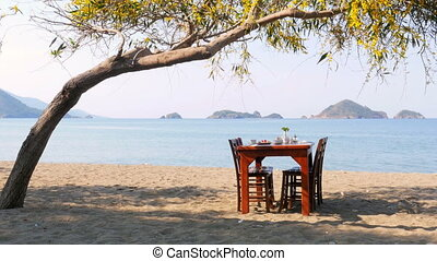 """Turkish breakfast at beach by sea, fethiye, turkey"""